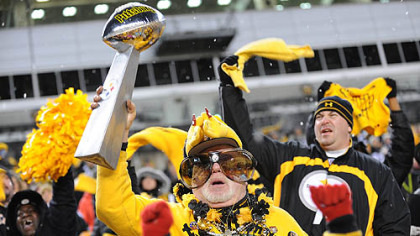 Bud Recktenwald of Whitehall cheers on the Steelers during a rally for fans at Heinz Field.