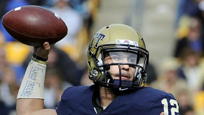 Pitt quarterback Tino Sunseri on his team&#039;s new offense: &quot;Guys are amped up and getting to the top of their routes, and defensive guys get a little bit slower.&quot;