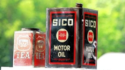 Vintage tins for sale at Tour-Ed Mine Flea Market in Tarentum.