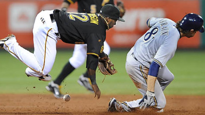 Third baseman Josh Harrison can't handle a throw in the dirt as Milwaukee's Ryan Braun slides into second with a stolen base.
