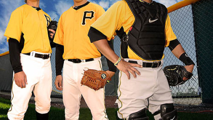 From left, Stetson Allie, Jameson Taillon and Tony Sanchez at Pirate City.
