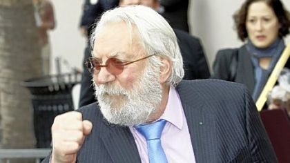 Donald Sutherland jokes as he is honored with a star on the Hollywood Walk of Fame on Wednesday.