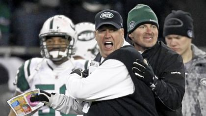 An excited Rex Ryan near the end of the Jets' win in New England Sunday.