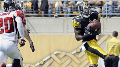 Steelers wide receiver Mike Wallace caught 10 touchdown passes this season.