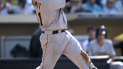The Pirates&#039; Ryan Doumit launches a grand slam in the third inning Wednesday at Petco Park.