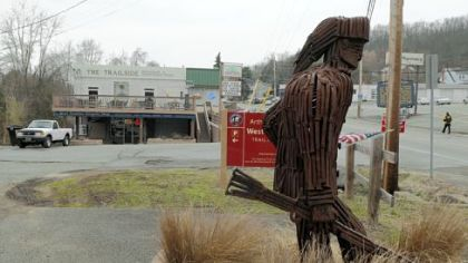 The Trailside restaurant is at 108 W. Main St. in West Newton. This sculpture, made out of old railroad spikes, is a tribute to an anonymous frontiersman.""