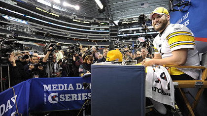 Steelers quarterback Ben Roethlisberger answers questions during Super Bowl Media Day.