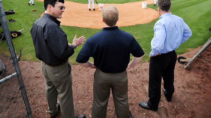 left to right, Pirates owner Bob Nutting, general manager Neal Huntington and president Frank Coonelly.