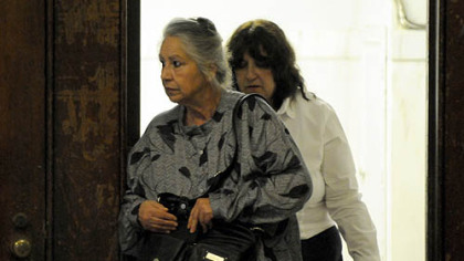 Catherine Scott, Richard Poplawski's grandmother, arrives at the Allegheny County Courthouse.