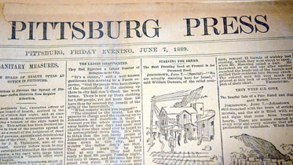 H-less Pittsburg on the nameplate of the Pittsburg Press dated Friday, June 7, 1889.