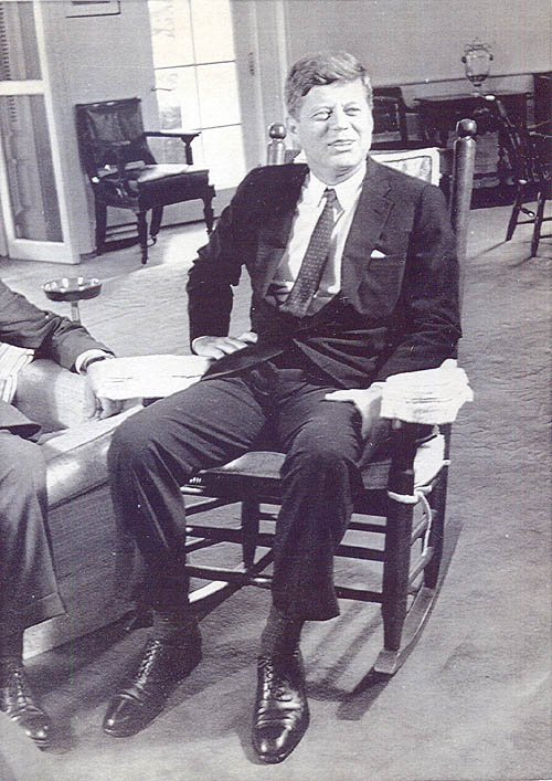 President John F. Kennedy in his rocking chair. Troutman Chair is now ...