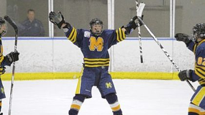 Mars' Nicholas Blaney celebrates after scoring his second of three goals in a 5-2 victory against Springfield from Delaware County in the Pennsylvania Cup Class A final Saturday at the Ice Line rink in West Chester, Pa.