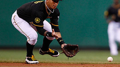 The Pirates' Ronny Cedeno fields a ground ball against the Cardinals during Friday's game at PNC Park.