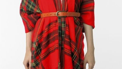 Acrylic plaid ruana with tassels, $42 at Urban Outfitters (www.urbanoutfitters.com).