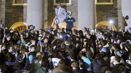 Penn State students gather after the announcement that Joe Paterno would no longer be head coach of Penn State Football to call for him to be allowed to coach one final game.