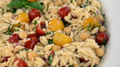 Orzo Salad with Grape Tomatoes.