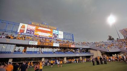 Fans exit the stadium during a weather delay at the West Virginia and Marshall NCAA college football game, Sunday, Sept. 4, 2011 in Morgantown, W.Va. Fans were told to leave their seats midway through the third quarter with West Virginia leading 27-13. It marked the fourth stadium to be cleared due to storms that started Saturday in the Midwest.