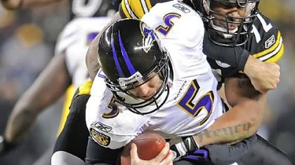 James Harrison wraps up Baltimore&#039;s Joe Flacco last season.