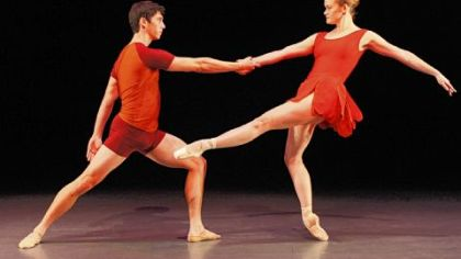 "Kenny Corrigan and Kay Whitney perform ""On the Other Side of Now,"" part of Point Park University's Conservatory Dance Company's ""Contemporary Choreographers."""