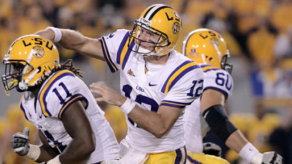 LSU's Jarrett Lee passed for three touchdowns in the first half as the Tigers built an early lead.