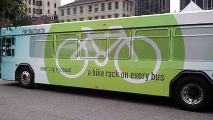 A Port Authority bus emblazoned with a new message for bicyclists.