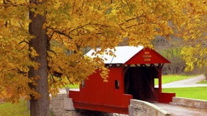 Ebenezer Covered Bridge in Mingo Creek County Park, Washington County, in fall, 2002.