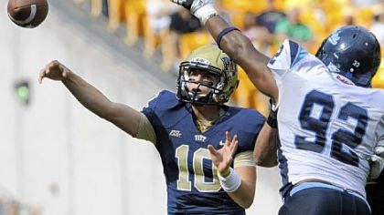 Quarterback Trey Anderson, throwing a pass in last Saturday's victory against Maine, is one of seven freshmen who have seen playing time this season for Pitt.