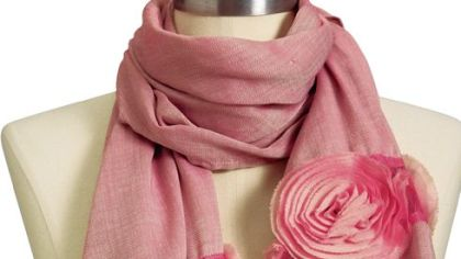 Gauzy rosette scarf, $10 at Old Navy (www.oldnavy.gap.com).