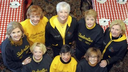 Veterans of the Steelers&#039; cheerleading squad of the 1960s: front row, from left: Dianne Rossini, Valerie Miller, Marlene Pizzuti. Back row, from left: Barbara Kruze, Lynn Moran, Noreen Modery, Jeanne Rattigan and Denise Hughes.