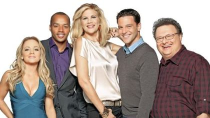 """The Exes"" stars, from left, Kelly Stables, Donald Faison, Kristen Johnston, David Alan Basche and Wayne Knight."