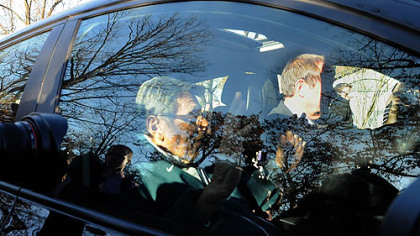 Penn State football Coach Joe Paterno leaves his house for football practice on Tuesday afternoon.