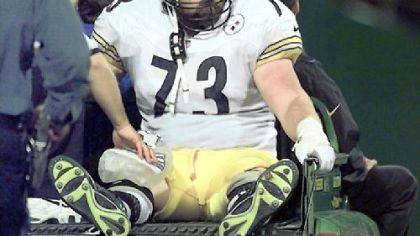 Former Pittsburgh Steelers right tackle Justin Strzelczyk died after driving his car into a tanker truck after leading police on a 40-mile high-speed chase in 2004.