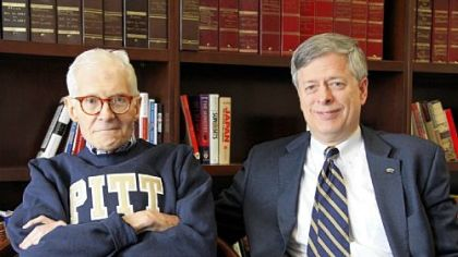 William S. Dietrich II, left, with University of Pittsburgh chancellor Mark Nordenberg on Thursday, the day Pitt announced a record-setting gift of $125 million from Mr. Dietrich, a Pitt alumnus and board member and a former steel executive.