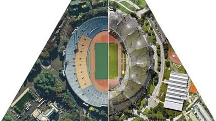 Olympic Stadiums: Tokyo 1964/Munich 1972 (detail from Global Cities, Model Worlds installation in Pittsburgh Biennial), Ryan Griffis, Lize Mogel, Sarah Ross, 2011