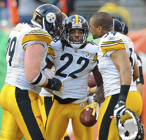 William Gay celebrates with Brett Keisel and Chris Carter after intercepting ...