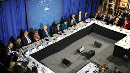 President Obama meets with the President's Council on Jobs and Competitiveness at the IBEW center.