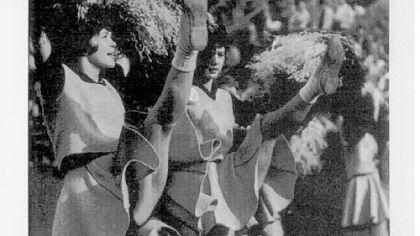 The 1963 Steelerettes high-kicking.