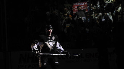 Penguins&#039; Sidney Crosby is introduced before the game against the Islanders.