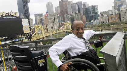 Chaz Kellem, the manager of diversity initiatives for the Pittsburgh Pirates, uses a wheelchair, but PNC Park was designed to be wheelchair accessible.