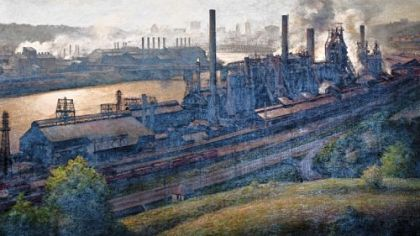 """J&L Steel Mill,"" an oil on canvas by John Shryock, 1974."