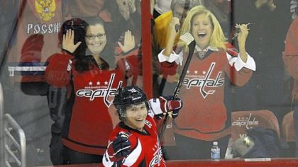 Washington&#039;s Nicklas Backstrom, back, scored in overtime to beat Anaheim Tuesday, 5-4. He celebrates with teammate Alex Ovechkin.
