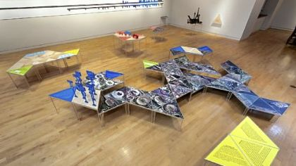&quot;Global Cities, Model Worlds&quot; installation in the 2011 Pittsburgh Biennial at Carnegie Mellon University&#039;s Miller Gallery.