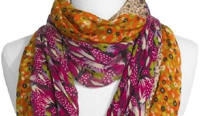 Lulu Floral & Animal Pattern Infinity Scarf; Berry; $18 available at Nordstroms.
