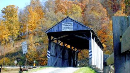 Afternoon sunlight bathes the Woods Covered Bridge in Center, Greene County, in 2001.