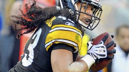 Troy Polamalu makes the iconic play of the 2010 season when he blitzes Baltimore quarterback Joe Flacco and knocks the ball loose to set up the winning touchdown.