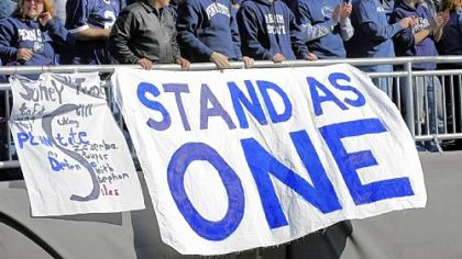 Penn State students show their support for their university at a most unusual Beaver Stadium Saturday.