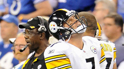 Ben Roethlisberger is slow to get up after taking a hit from Seattle Seahawks defensive end Raheem Brock late in the second quarter Sunday at Heinz Field.