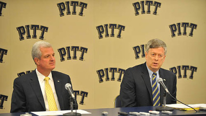 University of Pittsburgh Chancellor Mark Nordenberg speaks in a joint press conference with Athletic Director Steve Pederson  about the school's decision to move to the ACC (Atlantic Coast Conference).