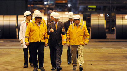 Texas Gov. Rick Perry is guided on a tour of the U.S. Steel Corp.&#039;s Irvin Plant in West Mifflin on Friday before making an energy policy address.