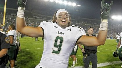 South Florida's Evan Landi celebrates the Bulls' 23-20 win at Notre Dame - the only marquee win for the Big East in a month that has seen the conference go 5-8 vs. BCS conference schools. South Florida is at Heinz Field Thursday.